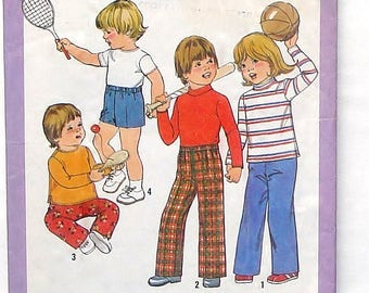 Vintage 70's Simplicity Child's Pullover Top, Pants and Shorts Pattern #8213 - Size 5+6 (Breast 24+25) - Cut and Complete