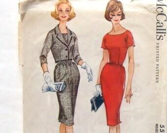 Vintage 1960 McCall's Sheath Dress & Waist Length Jacket Pattern #5507 - Size 14 (Bust 34)