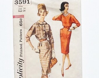 Vintage 1960 Simplicity One-Piece Dress Pattern #3591 - Size 14 - Bust 34 - Cut and Complete