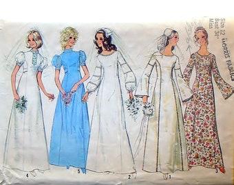 Vintage 1972 Simplicity Bride or Bridesmaid's Dress Pattern #9935 - Size 12 (Bust 34) - Cut & Complete