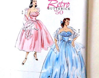 Retro '50 Butterick Misses Dress/Gown & Shawls Pattern #B6454- Sz A5(6-14)/E5(14-22) - UNCUT F/F