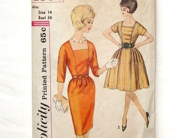 Vintage 1962 Simplicity Dress Pattern #4532 - Size 14 - (Bust 34) - Full or Slim Skirt - Cut and Complete
