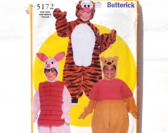 Butterick Toddler/Childu0027s Full Body Pooh Bear Piglet u0026 Tiger Character Costumes Pattern #5172 - Size S(1-2) + M(3-4) + L(5-6) UNCUT F/F  sc 1 st  Etsy : pooh bear and piglet costumes  - Germanpascual.Com