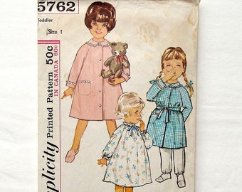 Vintage 1964 Simplicity Toddler Nightgown and Robe Pattern #5762 - Size 1 (Breast 20) - Cut and Complete