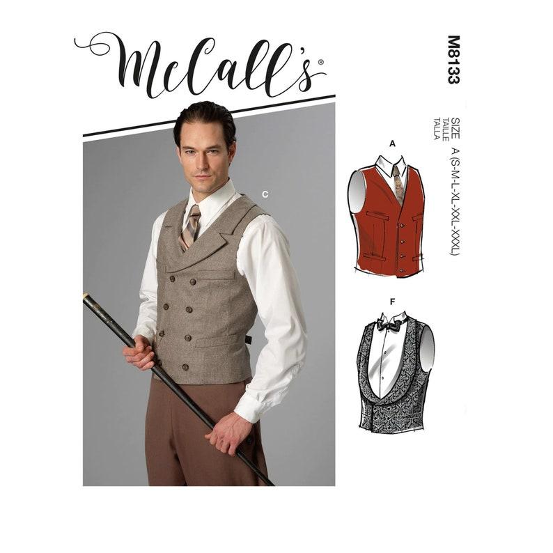 Edwardian Men's Fashion & Clothing 1900-1910s     Mens Vests Sewing Pattern - McCalls M8133 - Size S-M-L-XL-2X-3X (Chest 34-56
