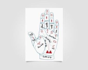 Twin Peaks Print, wall art, art print, palmistry, twin peaks art, occult, twin peaks returns