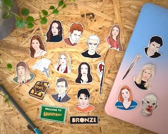 Buffy Stickers & Magnets, vinyl stickers, fridge magnets, vampire slayer, horror, halloween, laptop stickers