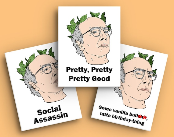 Larry David Birthday Card Curb Your Enthusiasm Pretty Etsy