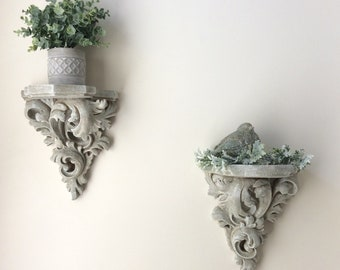 Pair Of Wall Sconces, Display Shelf, Decorative Wall Sconce, Cottage Chic  Home Decor