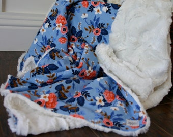 Periwinkle & Pink Floral Faux Fur Cuddle Baby Blanket // Rifle Paper Co. Throw Blanket// Minky Baby Blanket // Girly