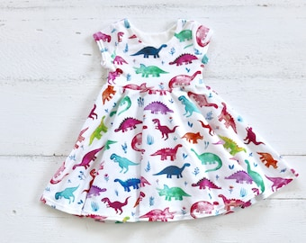 88bb090a1c04 Baby Girl Dinosaur Dress | Infant Tank Top Dress | Rainbow Baby Dinos |  Watercolor Dino Clothes | Girl Birthday Dress | Summer Outfit