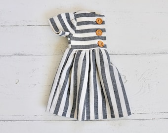 Navy Blue   Cream Linen Baby Dress  da9be548ab50