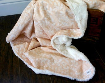 Blush Light Pink Floral Faux Fur Cuddle Baby Blanket // Rifle Paper Co. Throw Blanket// Minky Baby Blanket // Girly