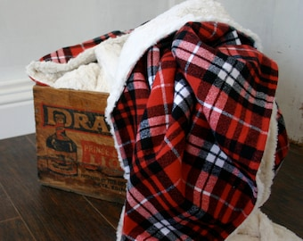 Plaid Flannel & Faux Fur Cuddle Baby Blanket // Red Plaid Throw Blanket// Minky Baby Blanket // Plaid Lovey