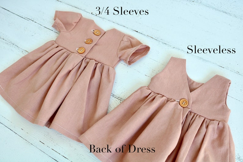 Tank Light Pink Easter Outfit Dusty Rose Linen Baby Dress Button Backed Toddler Dress Infant Sleeveless Dress Girls Spring Clothes