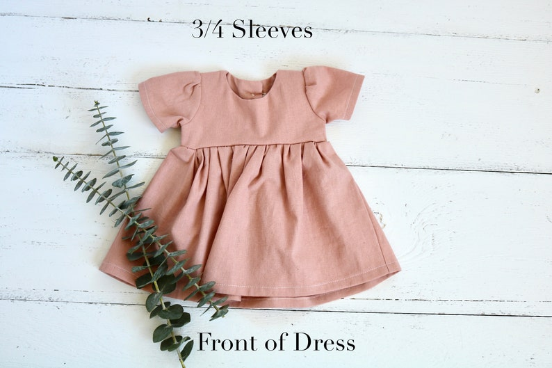 Infant Sleeved Dress Girls Spring READY TO SHIP Dusty Rose Linen Baby Dress Light Pink Easter Dress Button Backed Toddler Dress