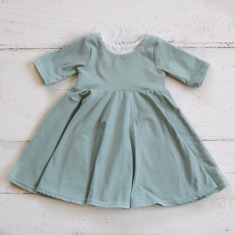 b6fa62c49 Dusty Blue Green Baby Dress// Infant Sleeved Dress // Seafoam | Etsy