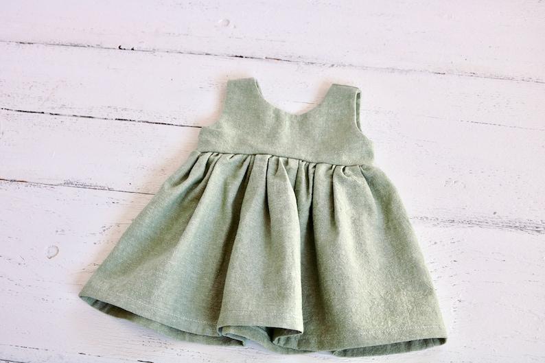 2c000c4e1264b Seafoam Green Linen Baby Dress Infant Tank Dress Button   Etsy