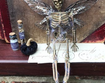 HALLOWEEN skeleton and black faerie wing decoration