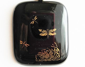 Golden Dragonflies Black Glass Pendant on Round Black Leather Cord