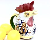 ITALIAN ROOSTER of FORTUNE is an 8.75 quot Glazed Brightly Hand Painted White Ceramic Pitcher w Beak Spout by Boston Warehouse - Free Shipping