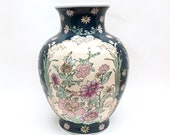 CHINESE 12 quot GINGER JAR Vase is a Glazed Hand-Painted Ceramic Stoneware Urn w Beige 39 Windows 39 of Pink Mauve Flowers against Navy Background