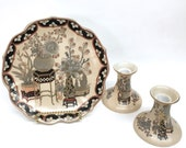 MACAU HAND PAINTED Glazed Ceramic Plate and Candleholders by Toyo includes a Decorative 9 quot Scalloped Display Dish w Matching Candle Holders