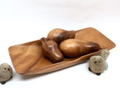 CARVED FRUIT CENTERPIECE is a Long 15 quot x 6 quot x 1 3 4 quot Hand Carved Monkey Pod Wood Tray with 3 Tropical Fruits by Rosas 39 Philippine Handicrafts