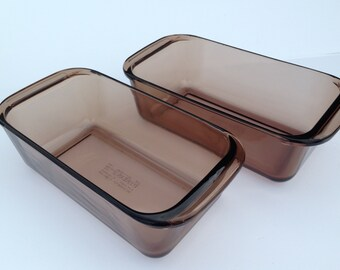 """SET of PYREX CORNING Loaf Pans consists of two Amber (smoky brown) 1.5 Liter Oven-Proof 5""""x 10""""x 3"""" Loaf Dishes by """"Pyrex Corning"""" Item #213"""