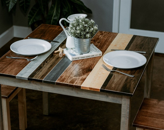 Classic Grey Multicolored Farmhouse Table