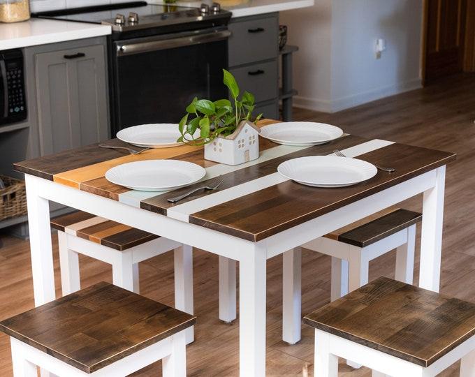 Farmhouse Breakfast Table Set | Square Table Set | Dining Set | Small Kitchen Table | Square Table