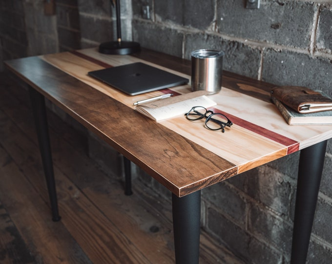 Colorful Wood Desk with Round Metal Legs - Made to Order