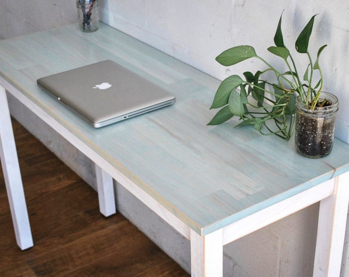 Bleach Blue Solid Maple Desk