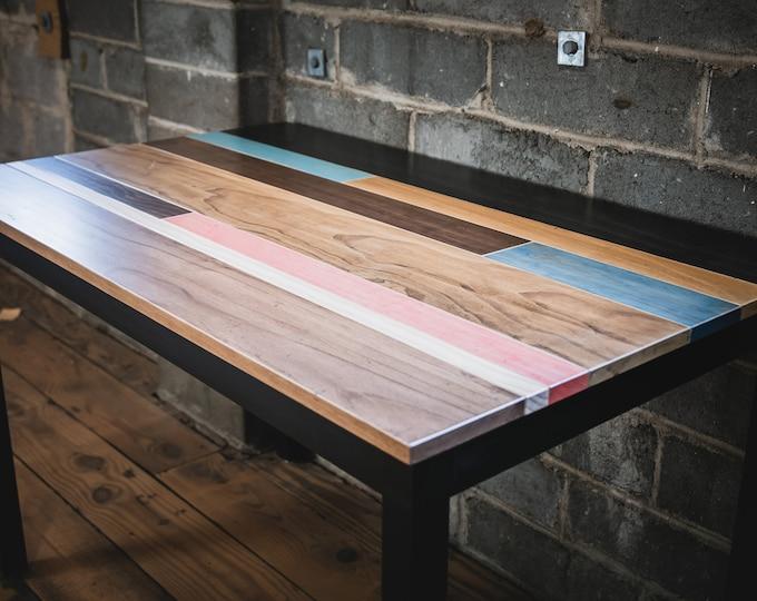 Distressed Multi Colored Wood Desk