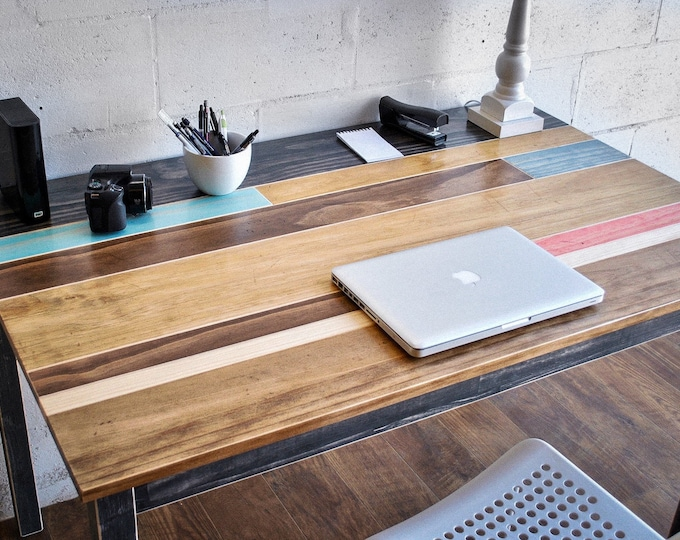 Distressed Multi Colored Wood Desk