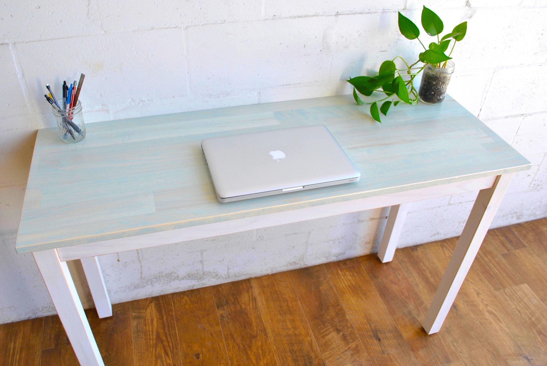 Groovy Made To Order Light Blue Desk Laptop Desk Wood Desk Download Free Architecture Designs Scobabritishbridgeorg
