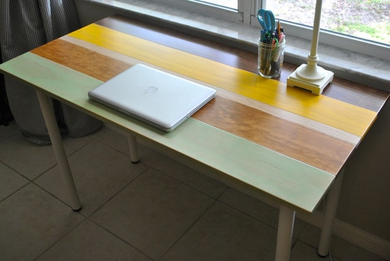 Colorful Wood Desk With Round Metal Legs Etsy