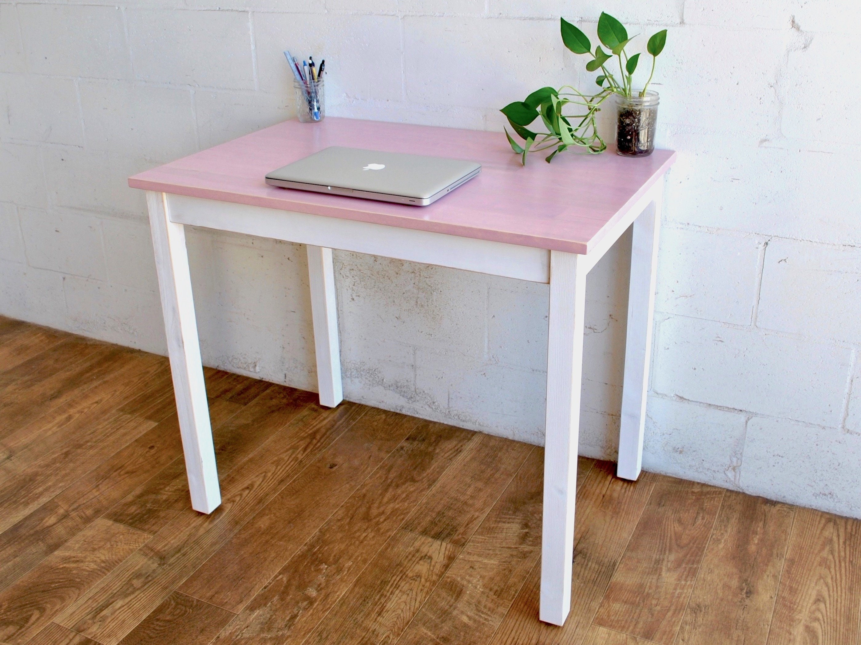 Pink Solid Wood Desk Laptop Desk Solid Wood Table Pink