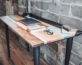 The Jessiah | Industrial Colorful Wood Desk with Round Metal Legs
