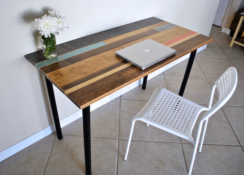 Distressed Colorful Wood Desk with Round Metal Legs image 0
