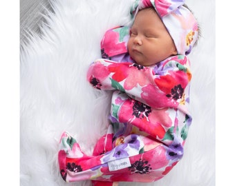 baby girl going home outfit floral zipper sleeper newborn watercolor floral one piece zipper baby outfit coming home brand new baby shower
