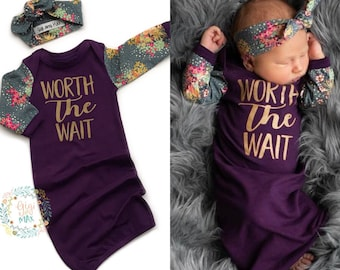 47f4f0ba9 newborn baby girl Worth the Wait gown plum and floral gown baby gown coming  home outfit plum gown going home gown brand new baby shower gift
