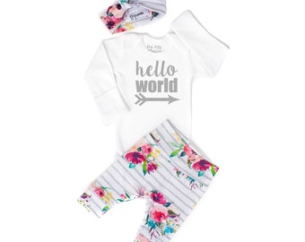 119f9ac79 hello world baby shower gift new baby set going home hospital outfit Baby  girl coming home outfit hello world watercolor Floral theme