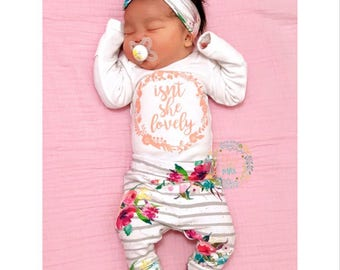 758b8aaf4 Baby girl coming home outfit Isn't she Lovely watercolor Floral theme hello  world baby shower gift new baby set going home hospital outfit
