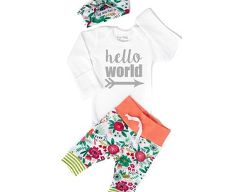b1205cab71f Baby girl coming home outfit hello world Coral Floral theme hello world baby  shower gift new baby set going home hospital outfit