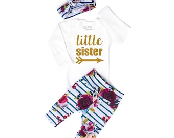 753d686d5 Newborn Baby LITTLE SISTER coming home outfit fall floral gold glitter  theme going home set hello world baby shower gift coming home outfit