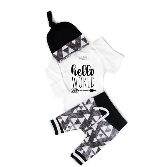Baby boy organic coming home outfit - black triangle theme - going home set hello world, baby shower gift, coming home outfit new baby going