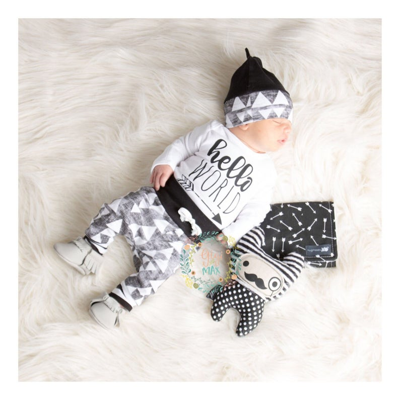 14122f2db Baby boy organic coming home outfit black triangle theme   Etsy