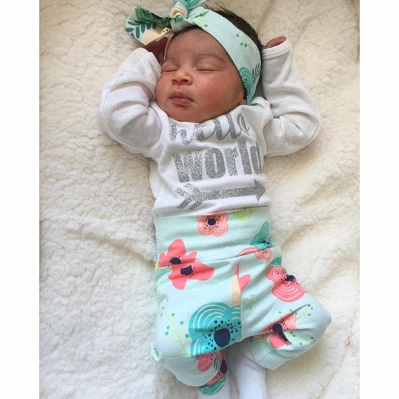 811d753bd Newborn Baby coming home outfit Floral on Light Blue theme | Etsy