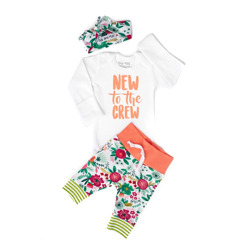 969a327d992 Newborn Baby girl coming home outfit Coral New to the Crew